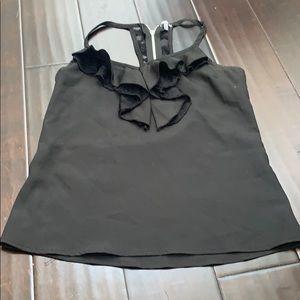 Tops - Black ruffle silk tank